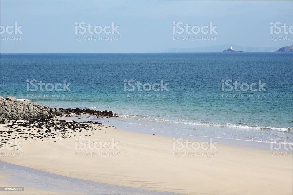 St Ives と Godrevy 灯台 ロイヤリティフリーストックフォト