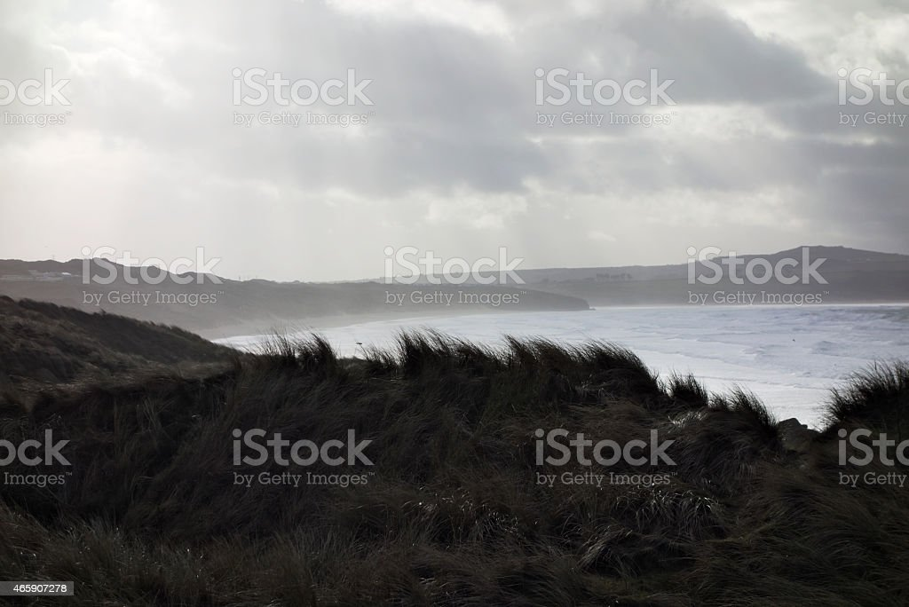 St Ives Bay Looking From Gwithian Towards Hayle stock photo