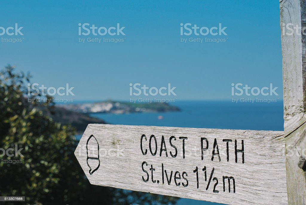 St Ives coastal path sign and St Ives in distance stock photo