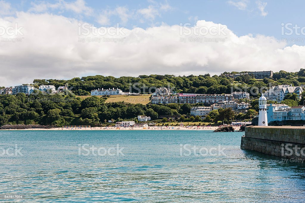 St Ives coastline and Porthminster beach from the harbour wall stock photo