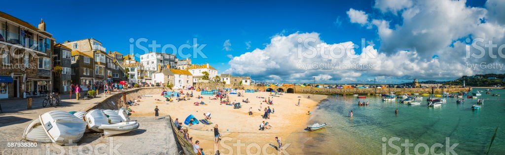St Ives Cornwall crowds of tourists enjoying summer holiday beach stock photo