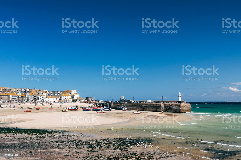 St Ives harbour and beach on the coast of Cornwall stock photo