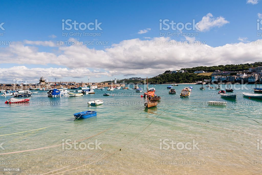 St Ives harbour and boats on the coast of Cornwall stock photo