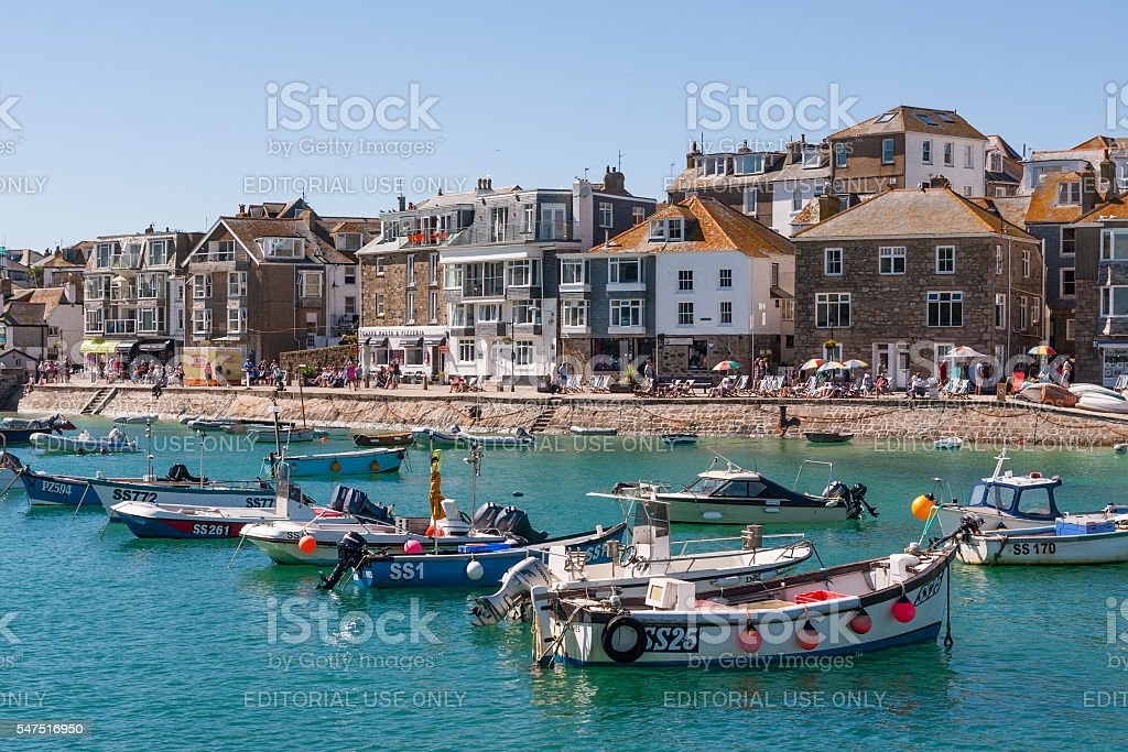 St Ives harbour and quayside on the coast of Cornwall stock photo