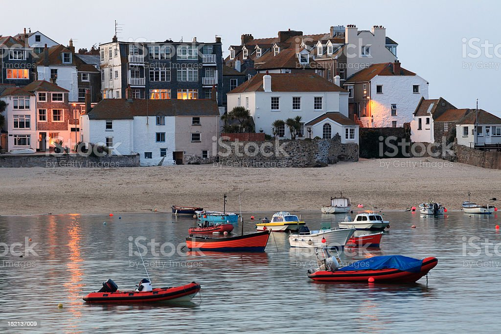 St Ives harbour at high tide stock photo