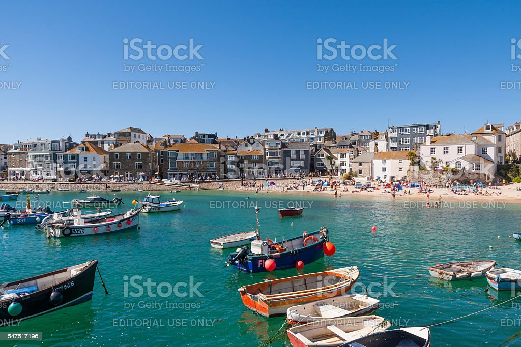 St Ives harbour, beach and quayside in Cornwall stock photo