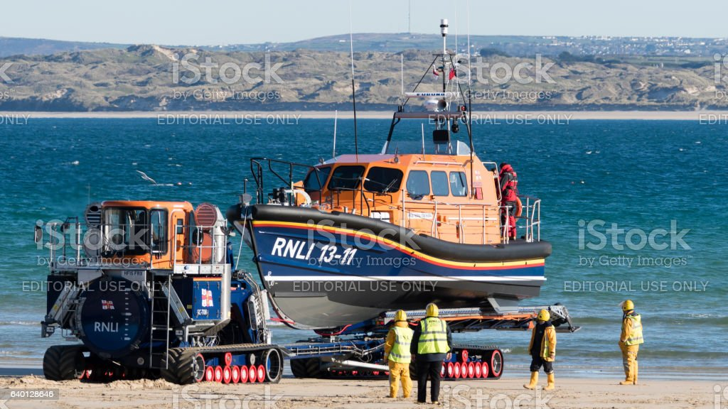 St Ives lifeboat coming ashore on a transporter stock photo
