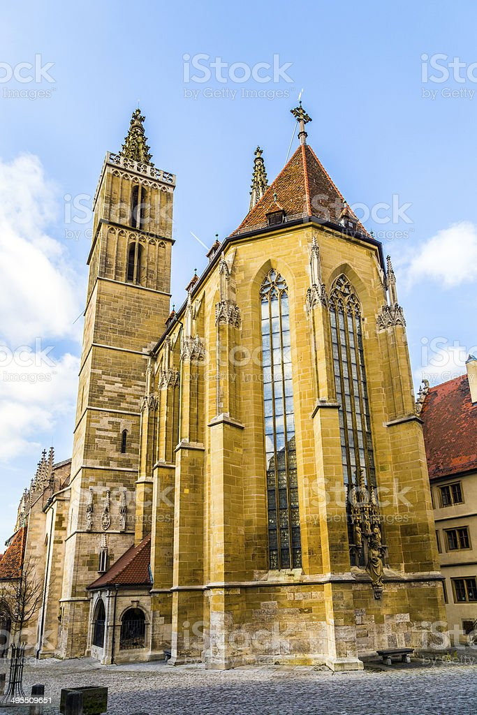St. Jakobs-Church at Rothenburg ob der Tauber stock photo