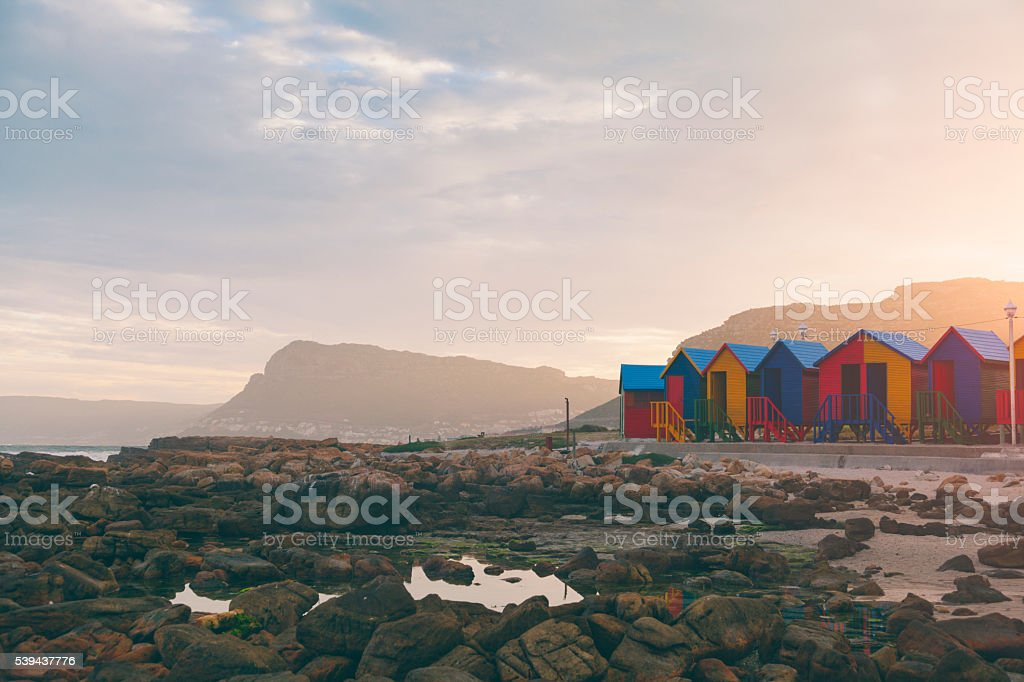 St. James beach during sunset (Western Cape Province, South Africa) stock photo