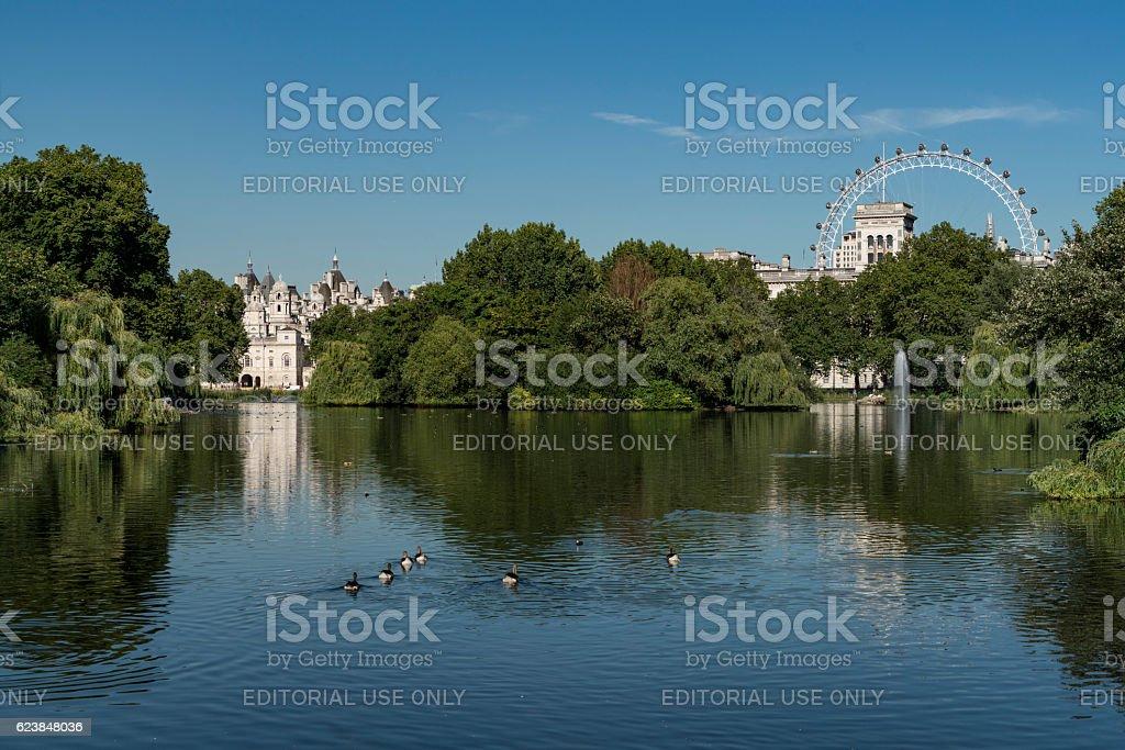 St. James Park Lake Horse Guards Parade Building stock photo