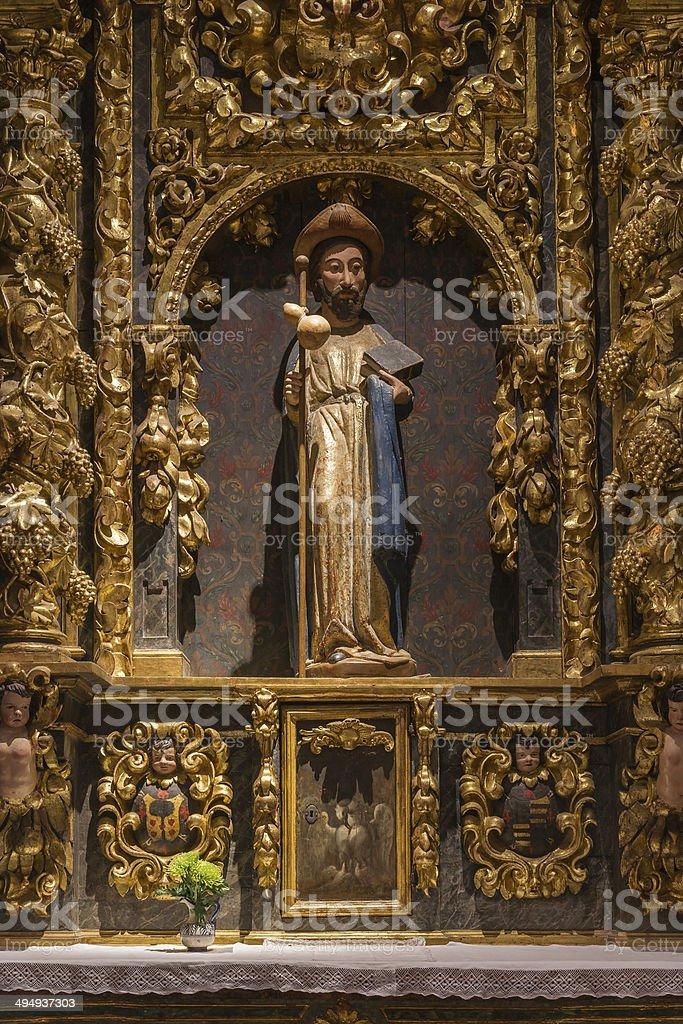 St. James Statue. Collegiate of Santa Maria Church stock photo