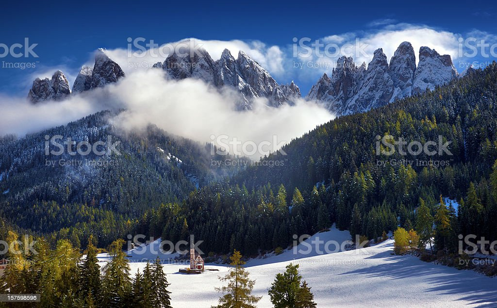St. Johann Church And Smoking Geisler stock photo