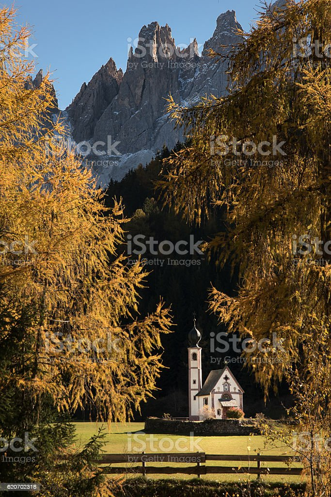 St. Johann Church in Villnöss, South Tyrol, Italy stock photo