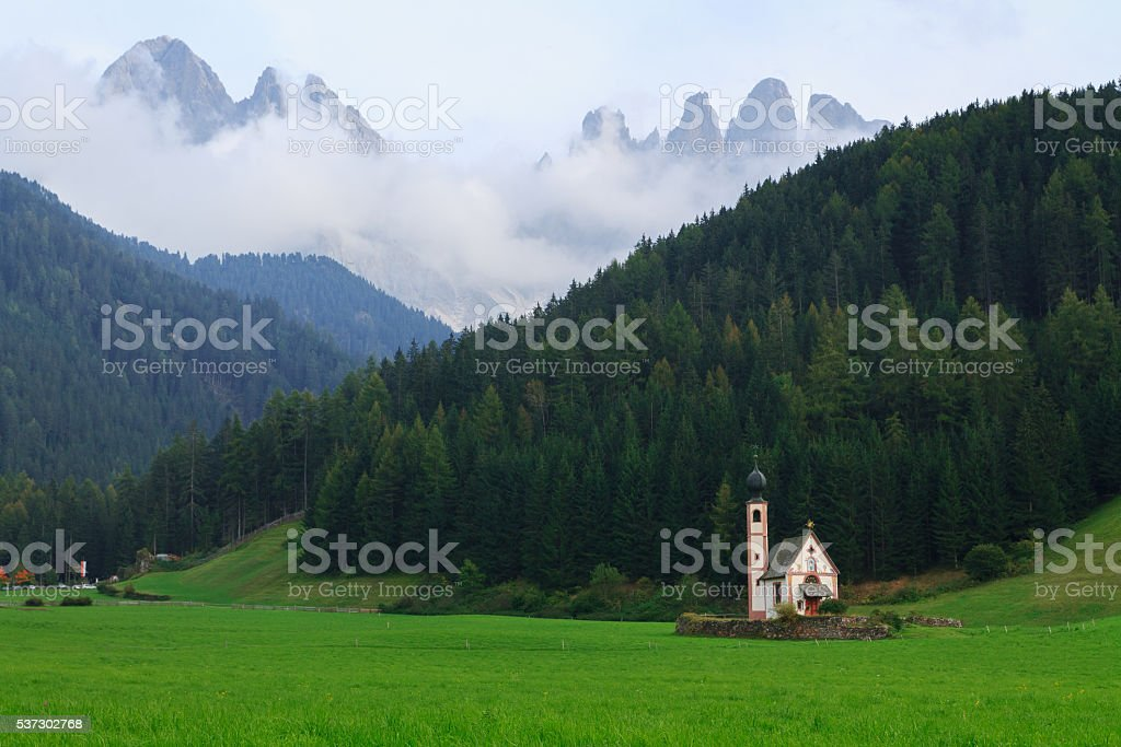 St Johann church of Santa Maddalena in the Dolomites stock photo