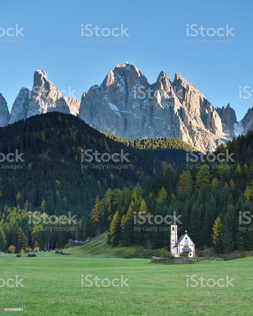 St. Johann Church, Santa Maddalena, Funes, Dolomites, Italy stock photo