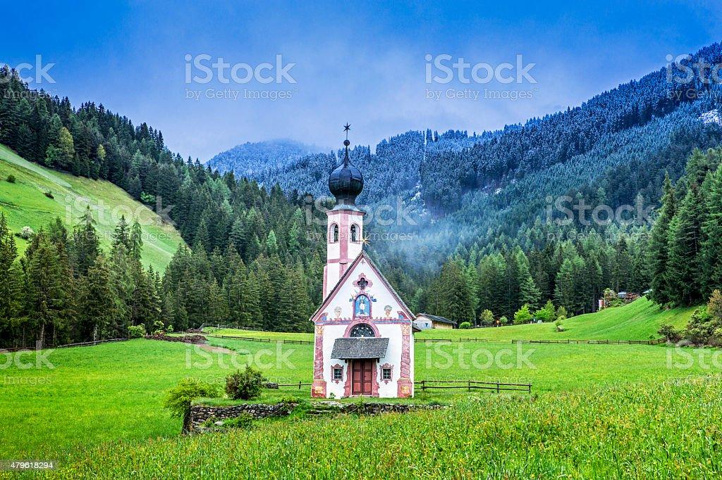 St Johann Church, Santa Maddalena, Italy stock photo