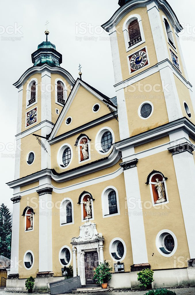 St Johann in Tirol parish church, Austria stock photo
