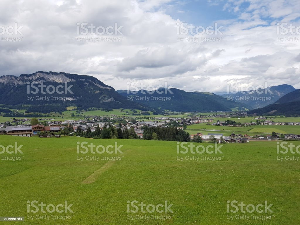 St. Johann, resort, Kitzbueheler Alps, stock photo