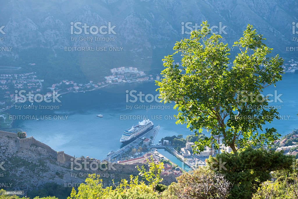 St. John Castle and cruise ship in Kotor, Montenegro stock photo