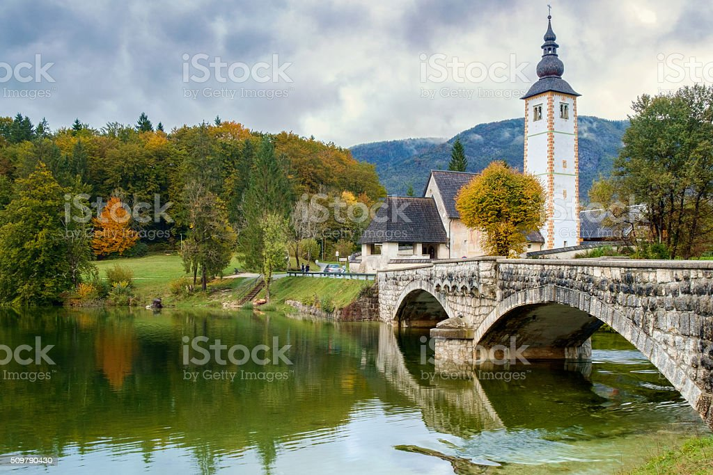 St John church the Bohinj lake, Julian Alps stock photo