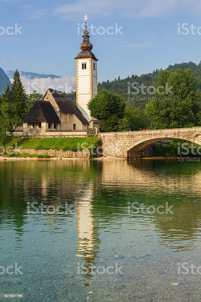St John church the Bohinj lake, Julian Alps stock photo