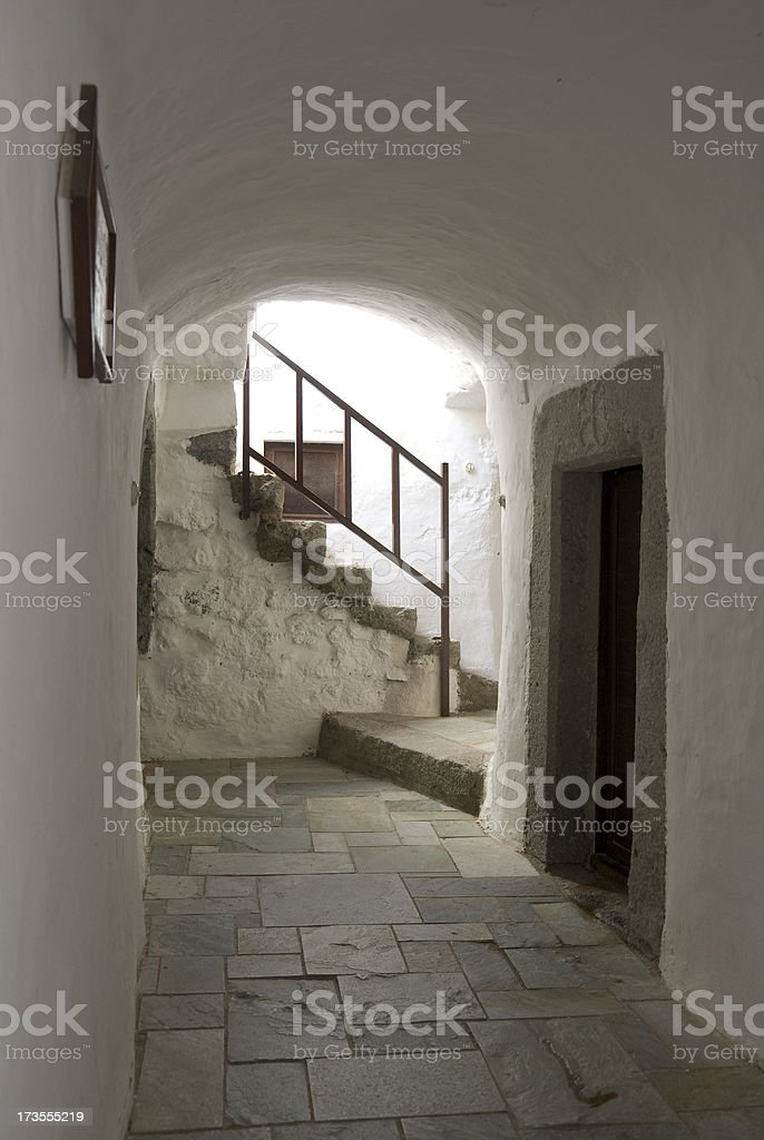 St. John Monastery hallway royalty-free stock photo