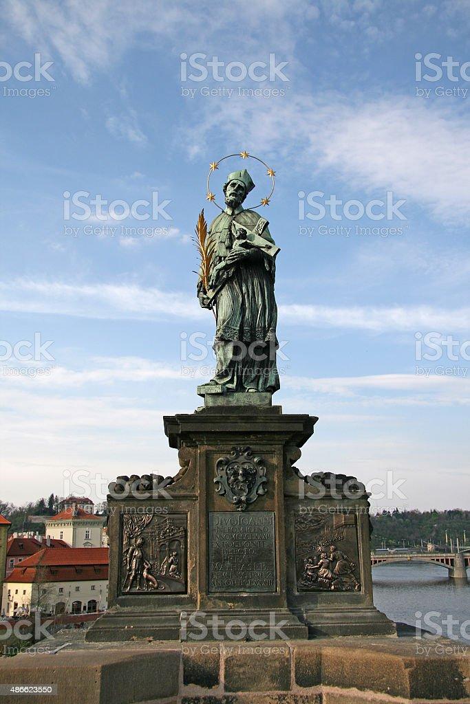 St. John Nepomuk Statue on Prague Charles Bridge, Czech republic stock photo