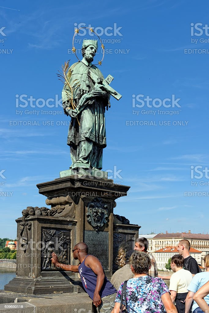 St. John of Nepomuk statue, Prague, Czech Republic. stock photo