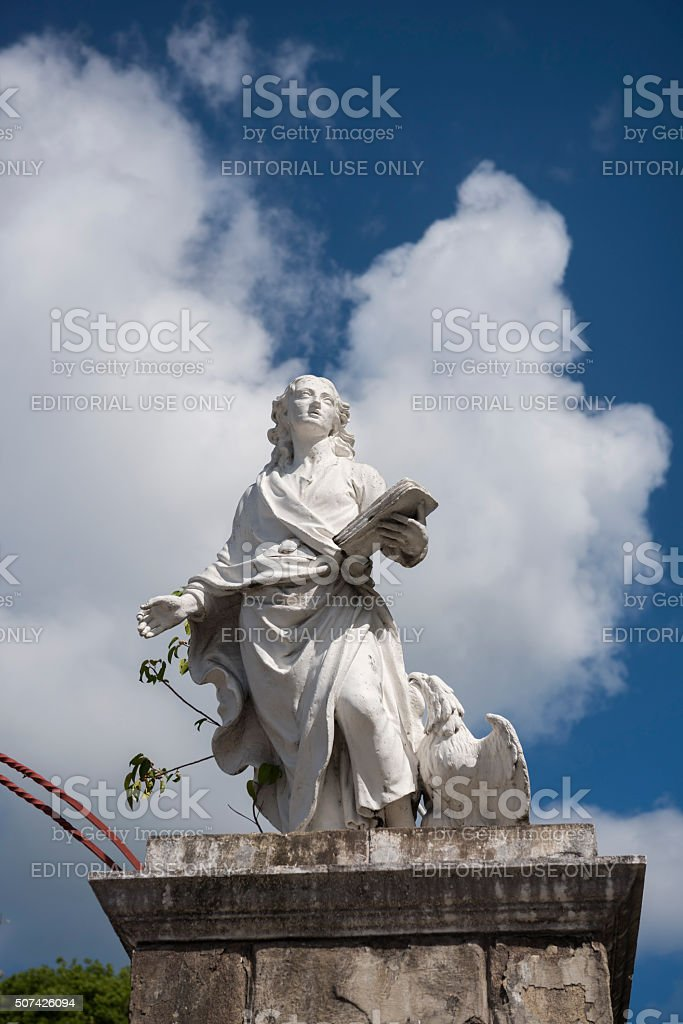 St. John statue at the cathedral in Antigua and Barbuda stock photo