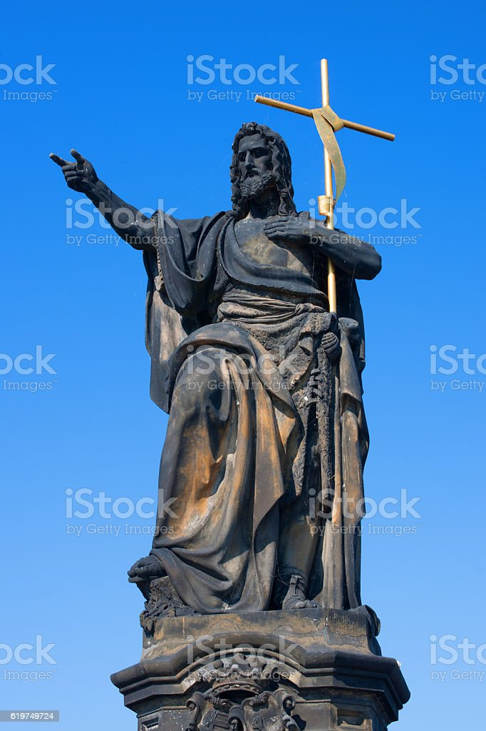 St. John the Baptist on Charles Bridge stock photo