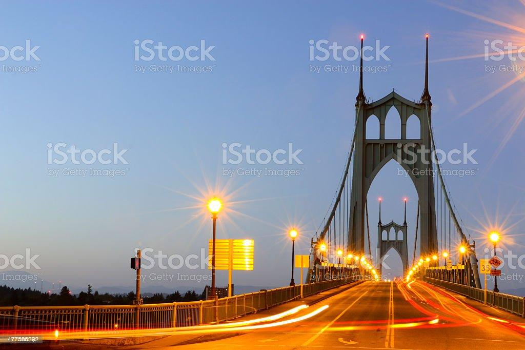 St. Johns Bridge Portland Oregon Time Exposure Evening Traffic Horizontal stock photo