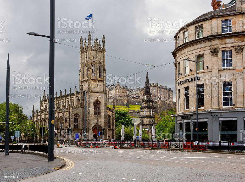 St John's Church and the Castle, Edinburgh, Scotland, United Kingdom. stock photo