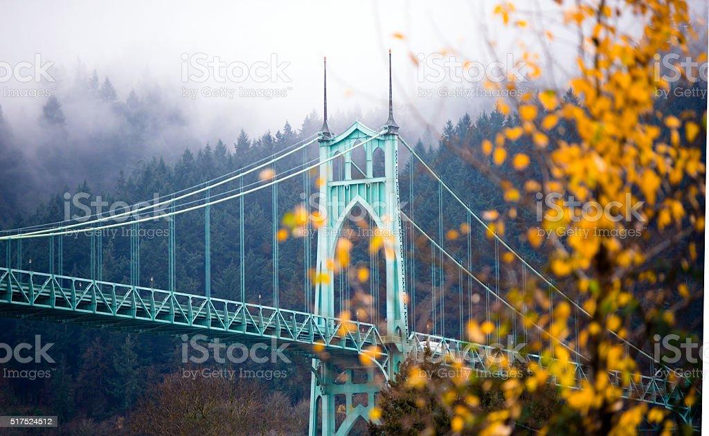 St Johns gothic style bridge Portland Oregon beautiful autumn stock photo