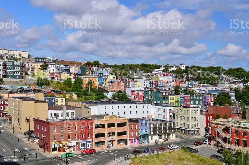 St John's Newfoundland Jelly Bean Houses stock photo