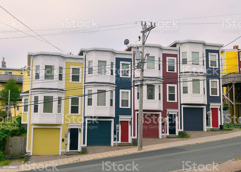 St John's Newfoundland Row Houses stock photo