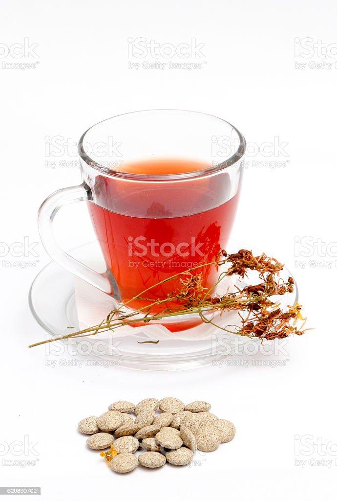 St. John's wort tea on white background stock photo