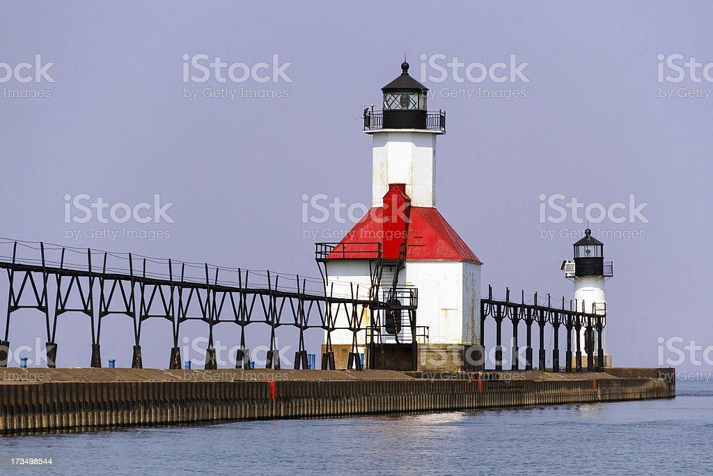 Saint Joseph, Michigan North Pier luci foto stock royalty-free