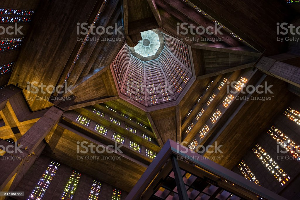 St. Joseph's Church architecture in Le Havre, France stock photo