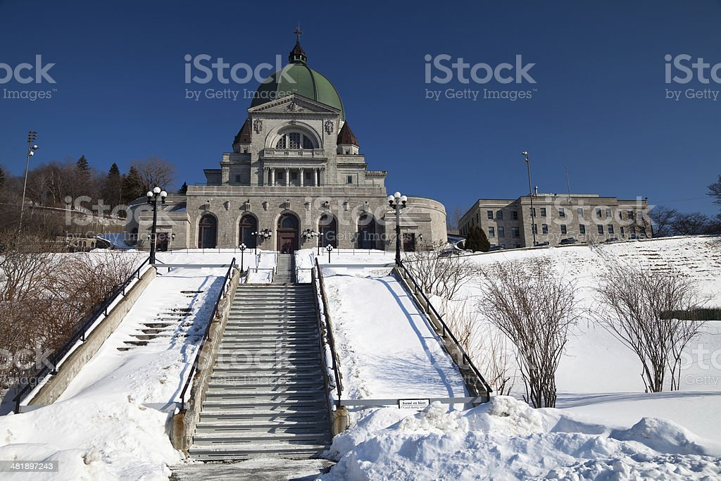 St Joseph's Oratory Montr?al, Qu?bec exterior in the winter stock photo