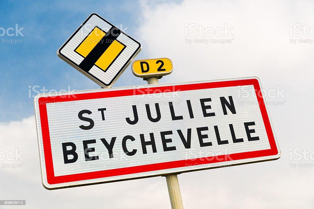 St Julien Beychevelle, Bordeaux, France, road sign stock photo