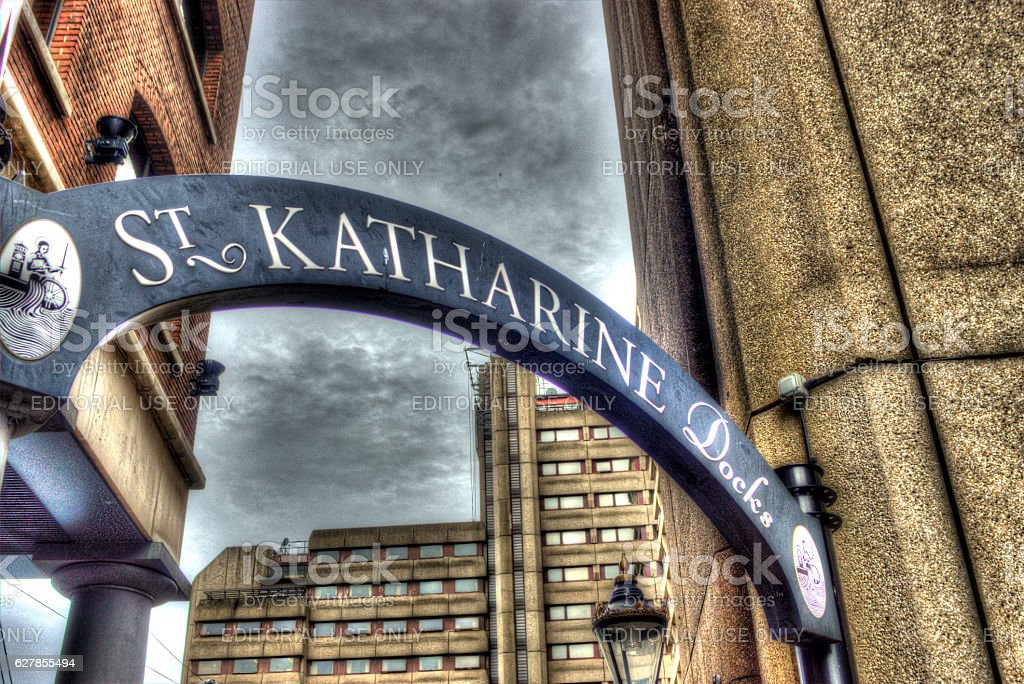 St Katherine docks London stock photo