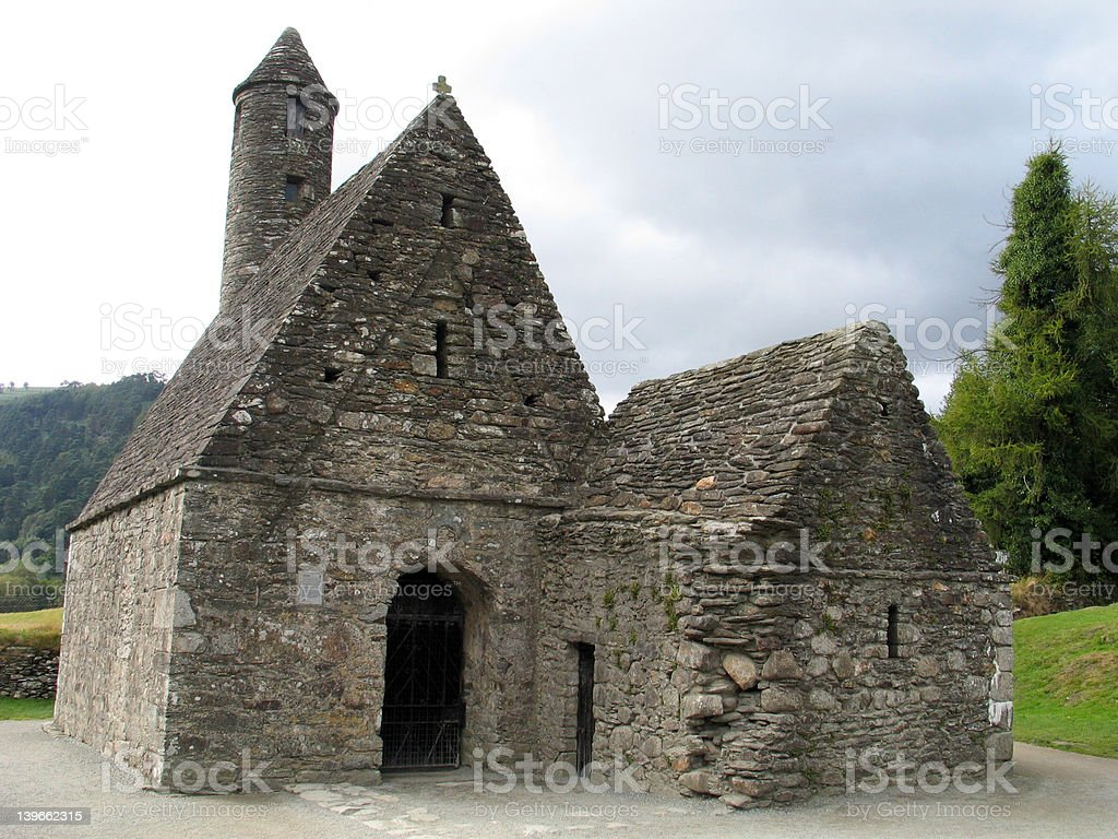 St. Kevin's Chapel at Glendalough royalty-free stock photo