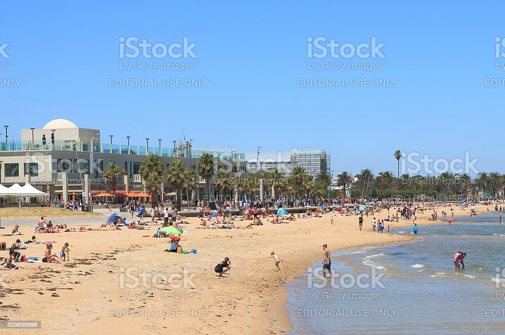 St Kilda beach Melbourne Australia stock photo