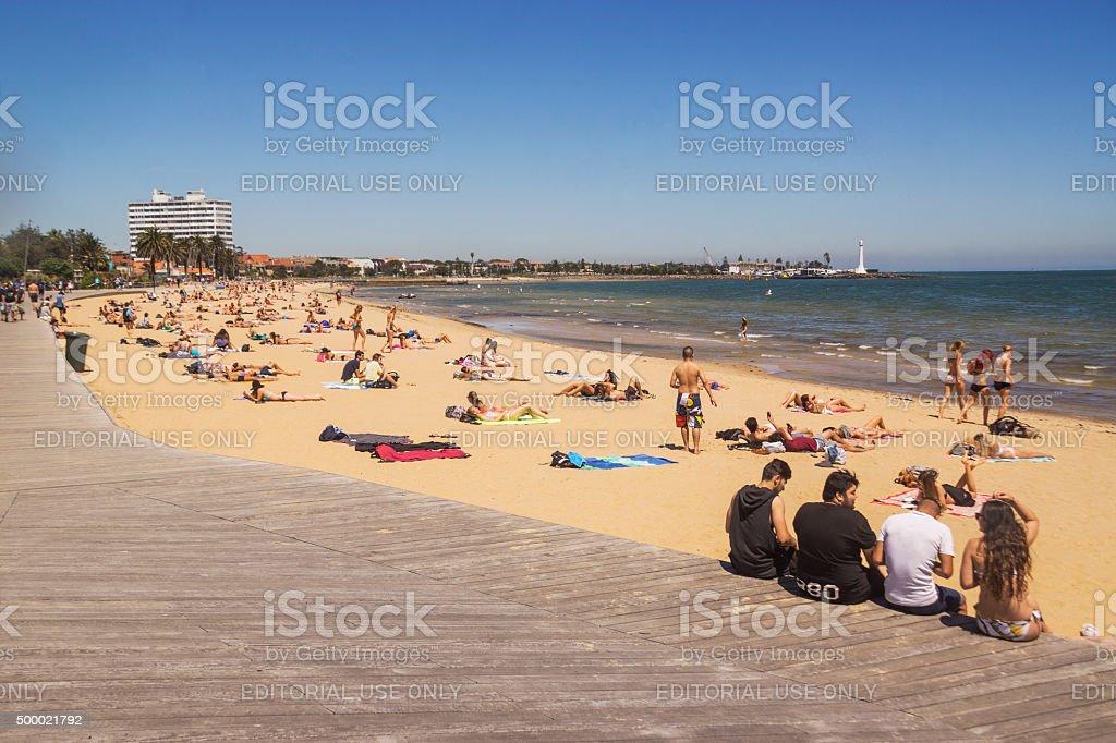 St Kilda Beach, Melbourne stock photo