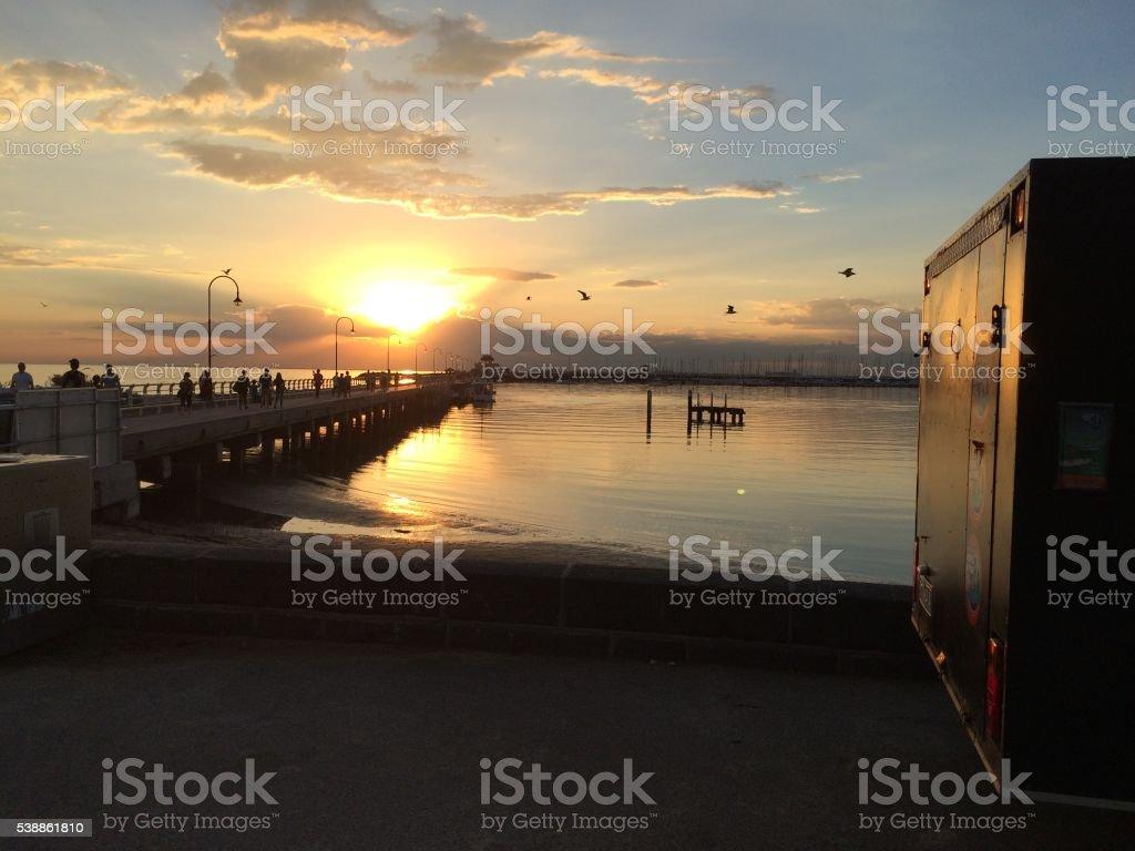 St Kilda atardecer en la playa foto de stock libre de derechos