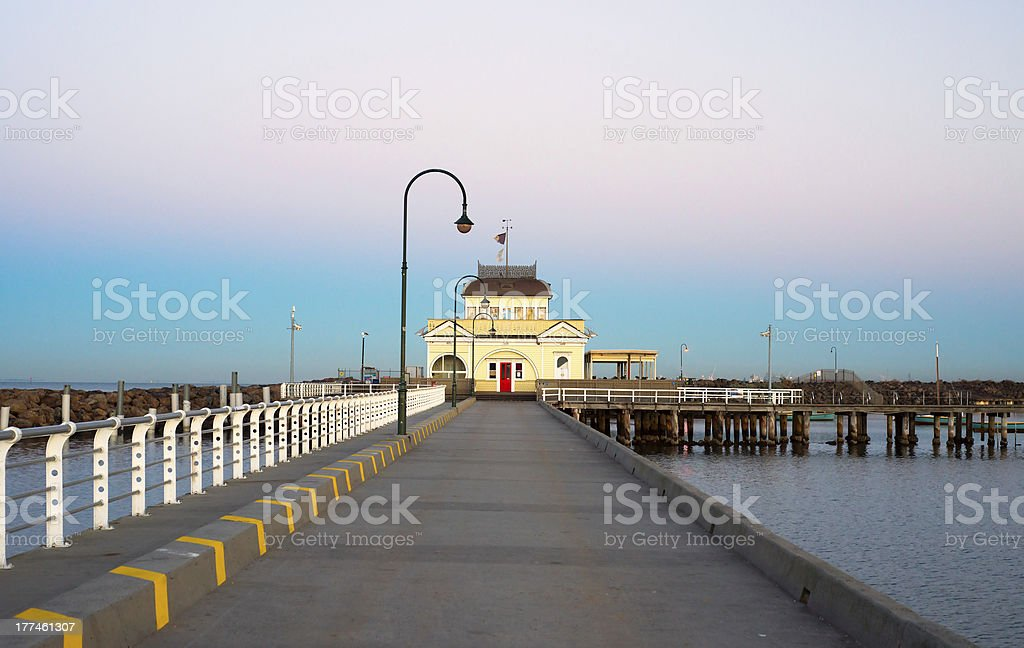 St Kilda Kiosk on sunrise stock photo