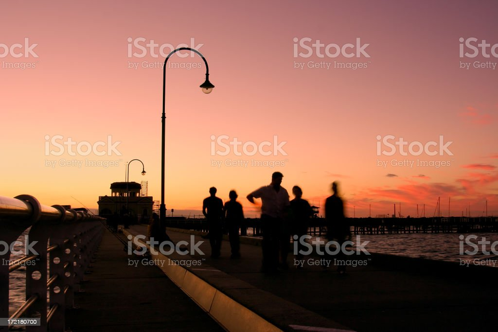 St Kilda Pier Sunset stock photo