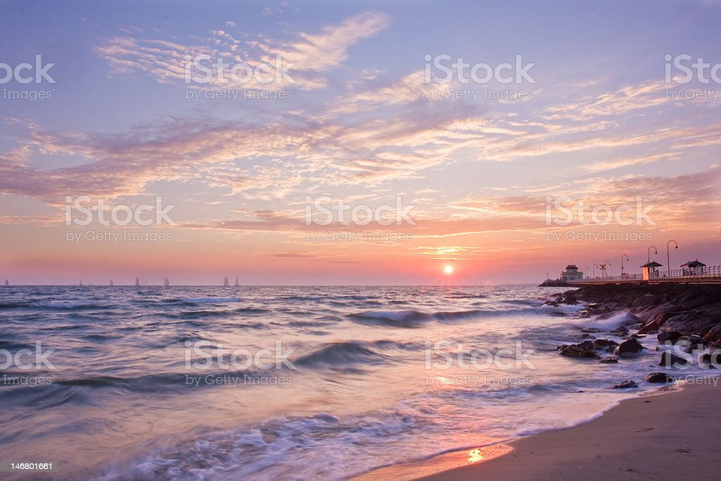 St Kilda Sunset stock photo