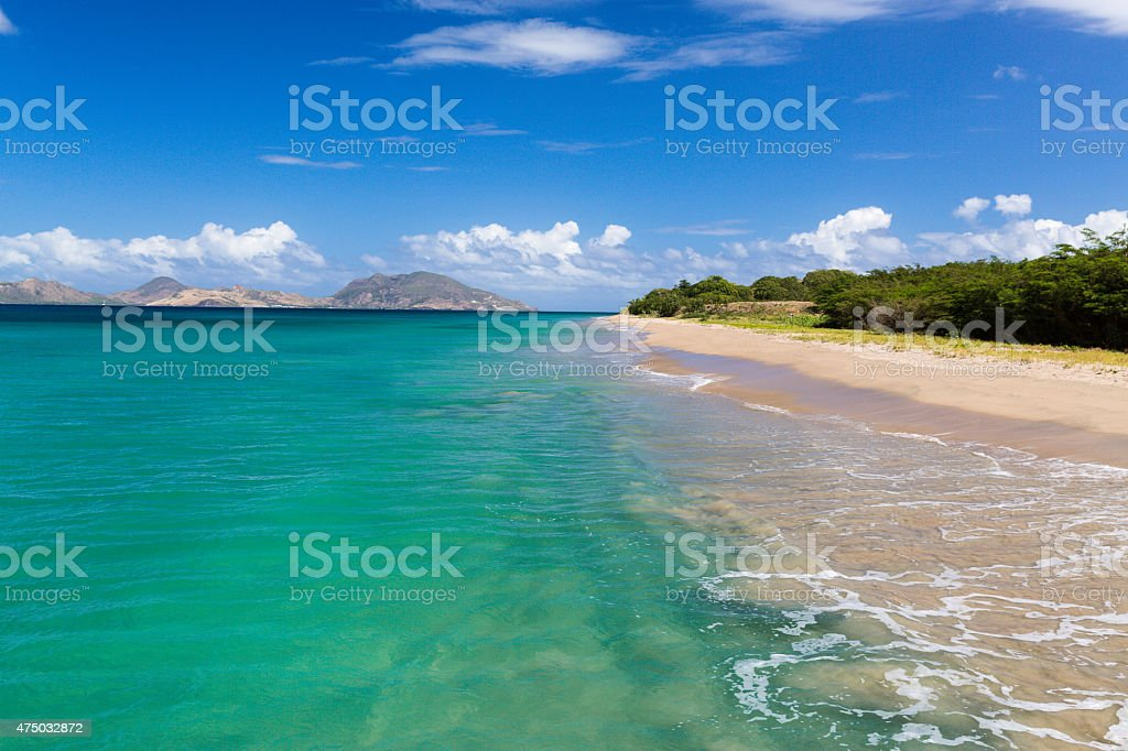 St Kitts and The Narrows from Nevis stock photo