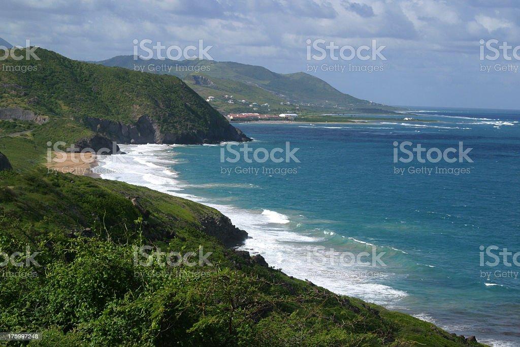 St. Kitt's Coastal Beach stock photo